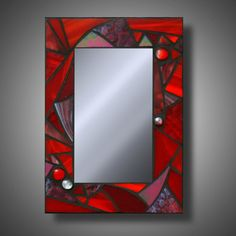 Super Funky Red Mosaic Mirror, Stained Glass Accent Mirror, x on Etsy…