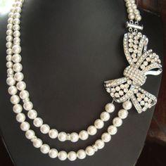 Vintage Style Pearl Bridal Necklace, Rhinestone Bow Wedding Necklace, Art Deco Style Wedding Jewelry, Ivory White Pearl Bridal Jewelry, LOLA on Etsy, $118.00
