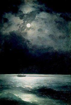 "huariqueje: "" The Black Sea at Night - Ivan Aivazovsky 1879 Russian 1917-1900 """