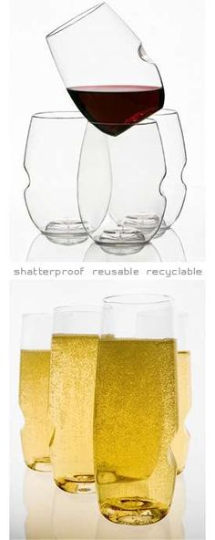 Made out of BPA-free polymer, the Govino Glasses are uniquely designed as well. Not only does it take the shape of a modern, stemless wine glass or flute, it also boasts an intriguing notch that, by its positioning, should provide a great cradle for one's thumb.