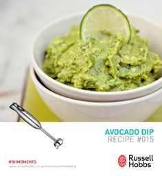 What would a soccer match be without a delicious dip?  Avocado dip is made to perfection with a Russell Hobbs hand blender. Ingredients: 1 large ripe avocado pear, 1 ripe plum tomato, 1 fresh or tinned jalapeno pepper, 1 T lemon juice, 1 T chopped fresh coriander, 5ml Tabasco sauce, Salt and ground black pepper to taste