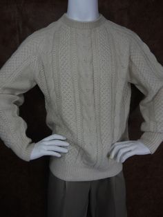 100% Alpaca Wool Natural Hand Knit Sweater Mens XL John Kramon & Co Marin Ca #JohnKramonCoMarinCalifornia #Crewneck