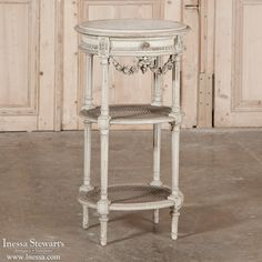 Antique Furniture | Antique Occasional Tables | End Tables | 19th Century Neoclassical Painted Marble Top Table | www.inessa.com