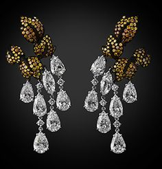 Golden Leaves - white and yellow diamond drop earrings by Michelle Ong for Carnet