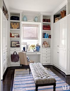 Closed storage in your dressing room? Crisp white cabinetry lines the walls of the master suite's dressing area in the Beverly Hills home of retail executives Dave DeMattei and Patrick Wade. Dressing Room Closet, Dressing Room Design, Dressing Area, Dressing Tables, Dressing Table Under Window, Narrow Dressing Table, Dressing Room Decor, Slaw Dressing, Dressing Table And Wardrobe
