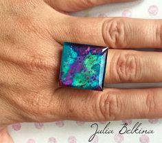 """Купить Кольцо из ювелирной смолы и сухоцвета """"ультрамарин"""" - кольцо, кольцо серебряное, кольцо ручной работы"""