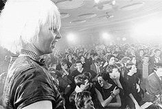 Vivienne Westwood on stage with the Sex Pistols at the Notre Dame Hall 1976.