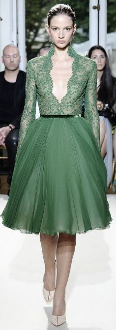 Celebrities who wear, use, or own Georges Hobeika Couture Fall 2012 V-Neck Lace Dress. Also discover the movies, TV shows, and events associated with Georges Hobeika Couture Fall 2012 V-Neck Lace Dress. Green Fashion, High Fashion, Fashion Show, Fashion Design, Net Fashion, Georges Hobeika, Beautiful Gowns, Beautiful Outfits, Gorgeous Dress