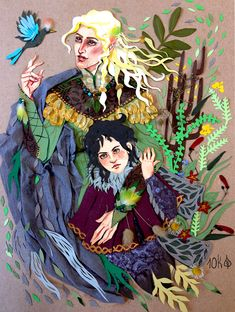 Happy times in Doriath. But Turin still is a grim little kid. Paper, watercolours, frilly plant parts. Also ontumblr
