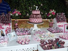 Festa infantil - menina - rosa e marrom. Papelaria e dessert table Rose Oak (eu mesma)