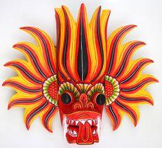 Sri Lanka traditional wall mask Gini raksha kaduru wood by ICMCM Sri Lanka, Green Pictures, Mask Tattoo, Guitar Painting, Beautiful Mask, Nature Paintings, Decoration, Wood Art, Cool Tattoos