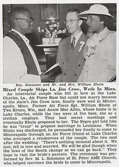 Interracial Couple Sgt. William Rhein and Annie Allen Can't Marry in Louisiana and Chooses Minn -  Jet Magazine June 25, 1953 (jet 16)