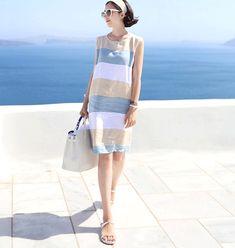 Sexy Cotton Linen Striped Summer Dress 2018 O-neck Women Sleeveless Casual Boho Beach Sundress Loose Women Dresses. Beach Wear Dresses, Summer Dresses For Women, Preppy Style, Blue Fashion, Cotton Linen, Clothes For Women, Casual Summer, Beach Casual, Women's Casual