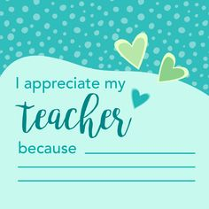 Happy teacher appreciation week! Encourage your kids to fill out this sweet reminder of why our teachers are so appreciated and loved! Don't forget to thank them!   Discover more in the Shopkick app!