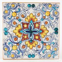 Italian ceramics tile 05   Deruta Italian pottery by Francesca Niccacci: Tile 05
