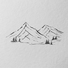 Mountain Sketch, Mountain Drawing, Mountain Tattoo, Doodle Drawings, Easy Drawings, Forest Drawing, Art Basics, Epic Art, Landscape Drawings