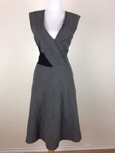 Tracy Reese Dress Gray Black Crochet See Through Back Textured Size Small #TracyReese #AsymmetricalHem #Casual