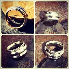 Anillo de Plata con banda central rotatoria anti stess, diseño Rustico / Silver ring with rotating band's anti stress, rustic design/ #hechura #joyeria #hechoamano #anillo #antistress #ring #jewelry #handmade #silver #sterlingsilver