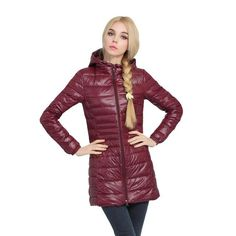 Womens Winter Coat Jacket Lady Parka Ultra-light Outerwear – PERKIN AVENUE This women's jacket is made from thin, warm ultra-light down material. The shell has a glossy sheen for a sporty style, and narrow quilt stitching adds a feminine touch.