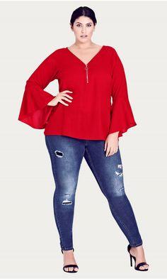 d6205f0b50e Shop Women s Plus Size Bell Sleeve Zip Top