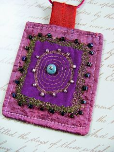 Textile jewelery textile  pendant   fiber jewelery by The7thMagpie, $22.00
