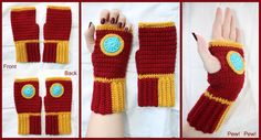DeviantArt: More Like Crochet Iron Man Fingerless Gloves by ...