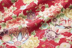 Stoff japanische Motive - Japanische Blumengewebe rot. - ein Designerstück von DIY-District bei DaWanda