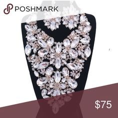Large Clear Crystal Bib Necklace Set Gold and Clear Crystal Bib Style Necklace Set with Flowers. 7 inches drop Jewelry Necklaces