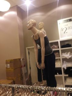 "As a teenager, you want to know how your new camisole is going to look if your posture constantly reflects the fact that you would rather be somewhere less lame. We can practically hear this grumpy mannequin say, ""Mo-ommmmm, whered my hair go? I hate you."""