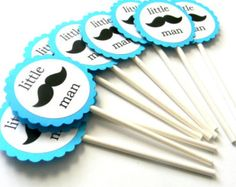 This listing is for ONE set of 12 of Mustache Cupcake Toppers  Tags are made of 2 layers of cardstock    **Also toppers can be customized for babys 1st Birthday ***  Please dont forget to check out my site for other various matching items such as paper straws, cupcake toppers, favor tags, party bags and more! Banners can be made with matching theme and colors upon request!   Thank you for looking and please let me know if you have any questions