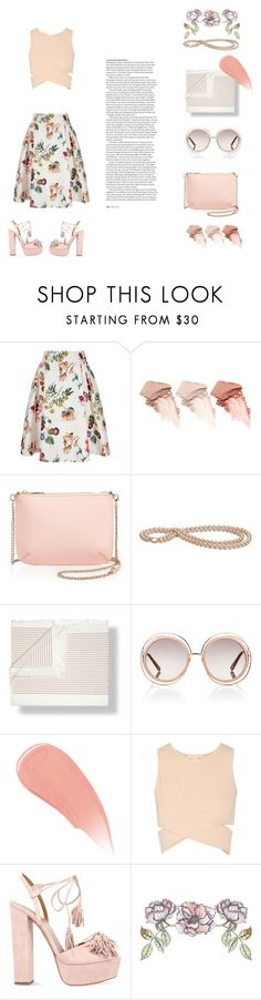 """rush"" by cennaxo ❤ liked on Polyvore featuring Yumi, Too Faced Cosmetics, Ted Baker, Baksana, Chloé, Burberry, Jonathan Simkhai, Aquazzura, ASOS and Universal Lighting and Decor"