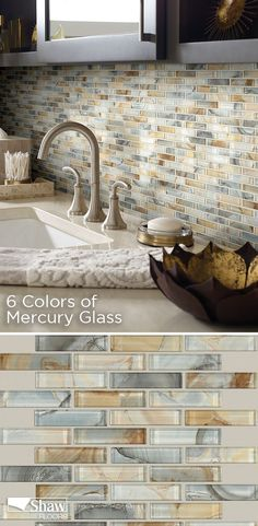 Mercury Glass tile is a staggered glass mosaic offered in six multi-colors. Like the silvered glass it's named for, Mercury Glass has a beautiful iridescent, metallic quality—and it features an underlying graphic image that creates a highly unusual stone/metal/glass fusion-textured effect. Spectacular in every way, this tile installed in a bathroom or in a kitchen is simply stunning.