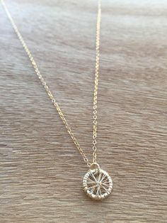 Gold Wheel Necklace, Small Gold Circle Pendant, Simple and Gold, Dainty Gold Filled Necklace, Delicate Gold Round Charm, Minimalist by simpleandgold on Etsy