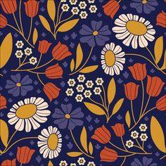 Elizabeth Olwen - Floratopia Heart of Gold Corduroy in Navy (hawthornethreads)