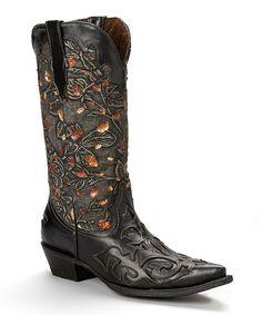 Look at this #zulilyfind! Black Jean-Top Leather Cowboy Boot by Pecos Bill #zulilyfinds