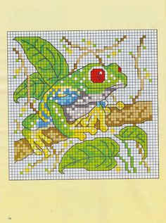 Cross-stitch Frog  ... no color chart available, just use pattern chart as your color guide.. or choose your own colors...   21 - galbut - Picasa Web Albums