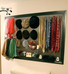 Awesome closet organizer with just a dressed up pegboard!