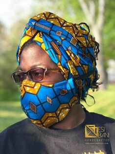 HEADWRAP & FACE MASK set, African Print Face Mask, Ankara Mask, 100% Cotton Reusable Face Mask w/ Filter Pocket, Shaped Mask HWFM2001 Full Face Mask, Face Mask Set, Mouth Mask Fashion, Tree Faces, Face Masks For Kids, Trendy Tree, Mask Design, Head Wraps, Money