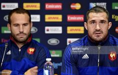 France's fly half Frederic Michalak (L) and France's full back Scott Spedding (R) give a press conference at the Millennium Stadium in Cardiff, south Wales, on October on the eve of their 2015 Rugby Union World Cup quarter-final match against New Zealand. Millennium Stadium, Cardiff, South Wales, Rugby, World Cup, Conference, October, France, Sports