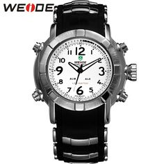 WEIDE Men Sports Watches Men's Quartz Hour Date Clock Man Silicone Strap Military Waterproof Wrist Watch Male Relogio / WH1106