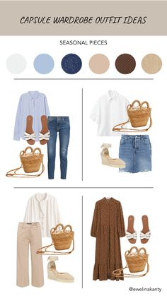 Capsule Outfits, Fashion Capsule, Mode Outfits, Capsule Wardrobe, Fashion Outfits, Travel Wardrobe, Spring Summer Fashion, Spring Outfits, Looks Style