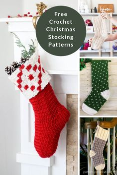 Knitted Christmas Stocking Patterns, Holiday Crochet Patterns, Crochet Stocking, Knitted Christmas Stockings, Christmas Knitting, Knitting Patterns, Free Knitting, Crochet Ornaments, Crochet Snowflakes