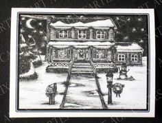 "Holiday House Christmas Cards; Pack of 10 cards (with envelopes) for $9.00. Hand-drawn (by me!) in black ink, printed on 4.25"" x 5.5"" white card stock, package bound with ribbon. Shows house decorated with garlands and wreaths for the holidays on a snowy, winter night. Snowman and pile of snowballs in the yard. Decorated mailbox and lamp post. Holiday message inside."