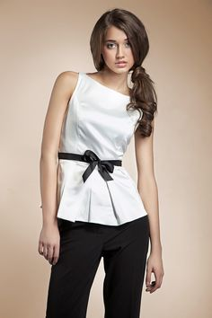 Clara Black White Satin Top, Sleeveless blouse with contrast belt Satin Top, White Satin, Online Fashion Stores, Cool Outfits, Lisa, Clothes For Women, My Style, Womens Fashion, Sleeveless Blouse
