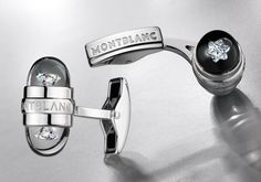 Montblanc Cufflinks - White Gold with floating Montblanc Cut Diamond.