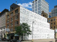 "On the Schmitt Music Building on 10th Street South in downtown Minneapolis.    Maurice Ravel's ""Gaspard de la Nuit""  http://youtu.be/hKgcHjq1xKQ"