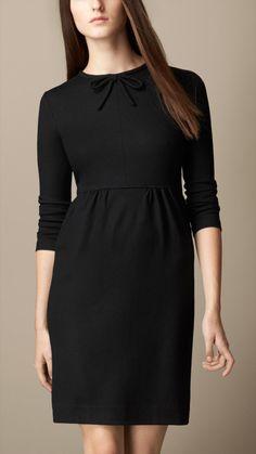 Bow Detail Wool Dress | Burberry