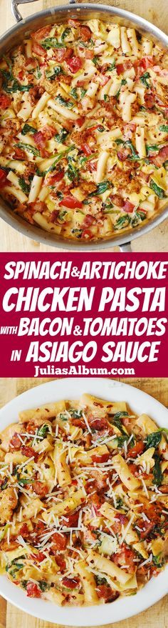 Spinach and Artichoke Chicken Pasta with Bacon and Tomatoes in Asiago Cream Sauce - yummy pasta with lots of veggies!
