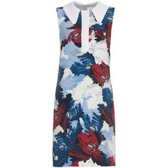 Erdem Nessana Kita-print shirtdress ($402) ❤ liked on Polyvore featuring dresses, vestidos, erdem, short dresses, blue print, blue floral dress, flower print dress, oversized t-shirt dresses, floral shirt dress and floral-print dresses