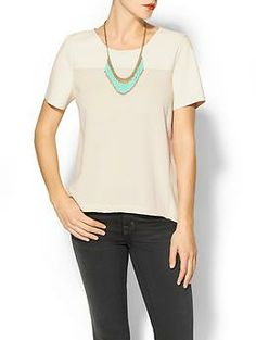 Velvet by Graham & Spencer French Terry/Faux Leather Lorinda Top | Piperlime